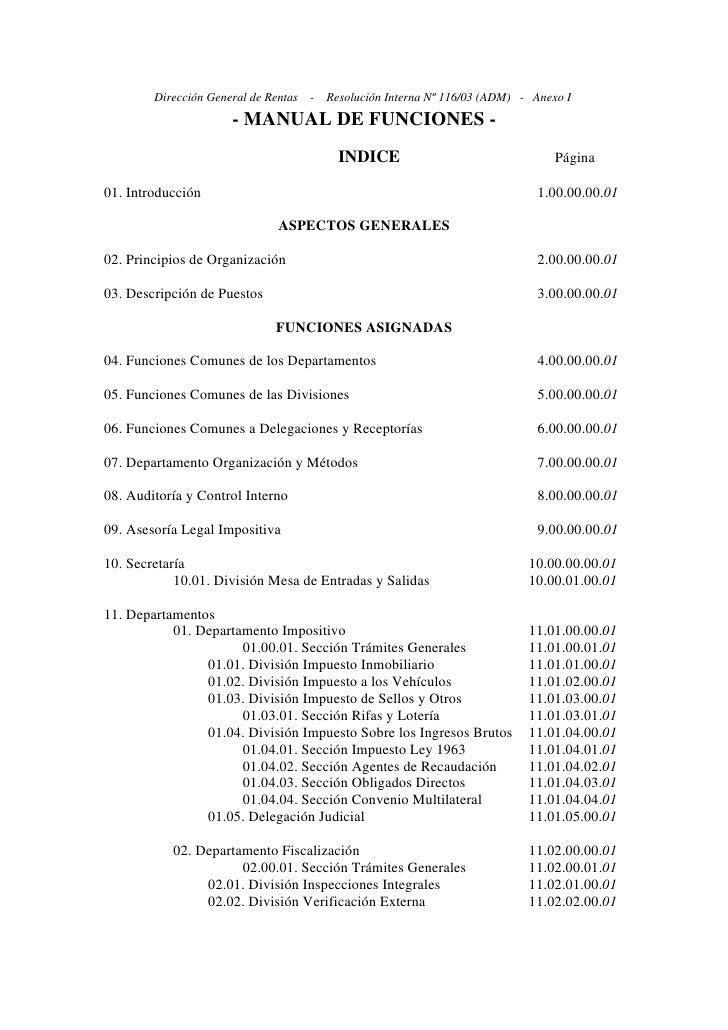 Dirección General de Rentas   -   Resolución Interna Nº 116/03 (ADM) - Anexo I                       - MANUAL DE FUNCIONES...