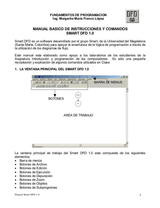 FUNDAMENTOS DE PROGRAMACION  Ing. Margarita María Franco López  MANUAL BASICO DE INSTRUCCIONES Y COMANDOS  SMART DFD 1.0  ...