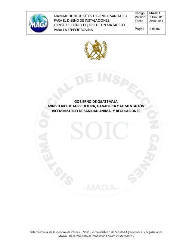 MANUAL DE REQUISITOS HIGIENICO SANITARIO PARA EL DISEÑO DE INSTALACIONES, CONSTRUCCIÓN Y EQUIPO DE UN MATADERO PARA LA ESP...