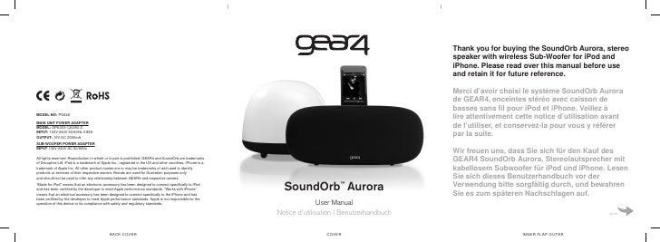 SoundOrb Aurora    ™                  User Manual Notice d'utilisation   Benutzerhandbuch