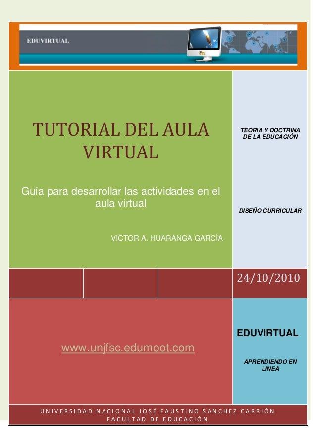 24/10/2010 TUTORIAL DEL AULA VIRTUAL Guía para desarrollar las actividades en el aula virtual VICTOR A. HUARANGA GARCÍA TE...
