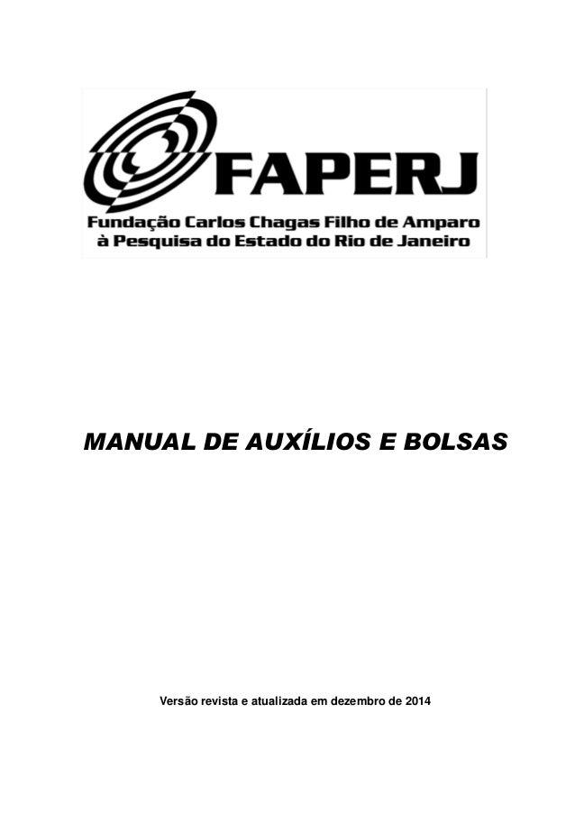 MANUAL DE AUXÍLIOS E BOLSAS Versão revista e atualizada em dezembro de 2014