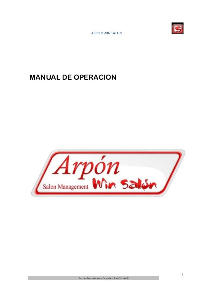 ARPON WIN SALONMANUAL DE OPERACION                                                                      1          Derecho...
