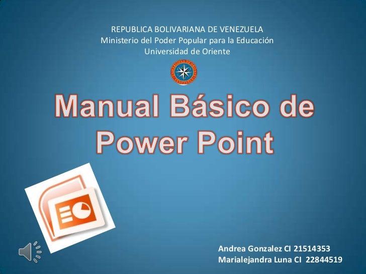 REPUBLICA BOLIVARIANA DE VENEZUELAMinisterio del Poder Popular para la Educación            Universidad de Oriente        ...