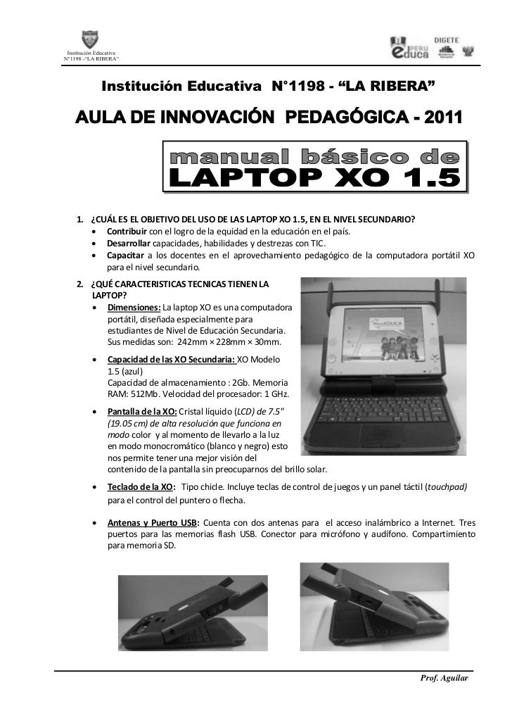 Manual basico laptop xo 1.5 secundaria