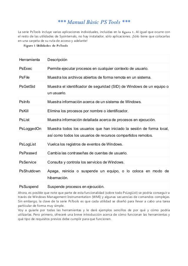 *** Manual Bàsic PS Tools ***La serie PsTools incluye varias aplicaciones individuales, incluidas en la figura 1. Al igual...