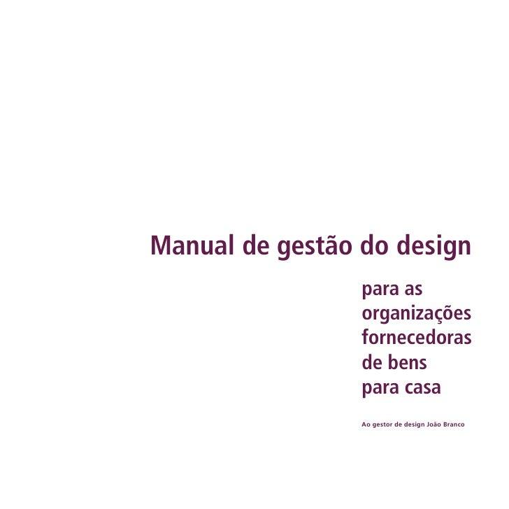 Manual de gestão do design                  para as                  organizações                  fornecedoras           ...