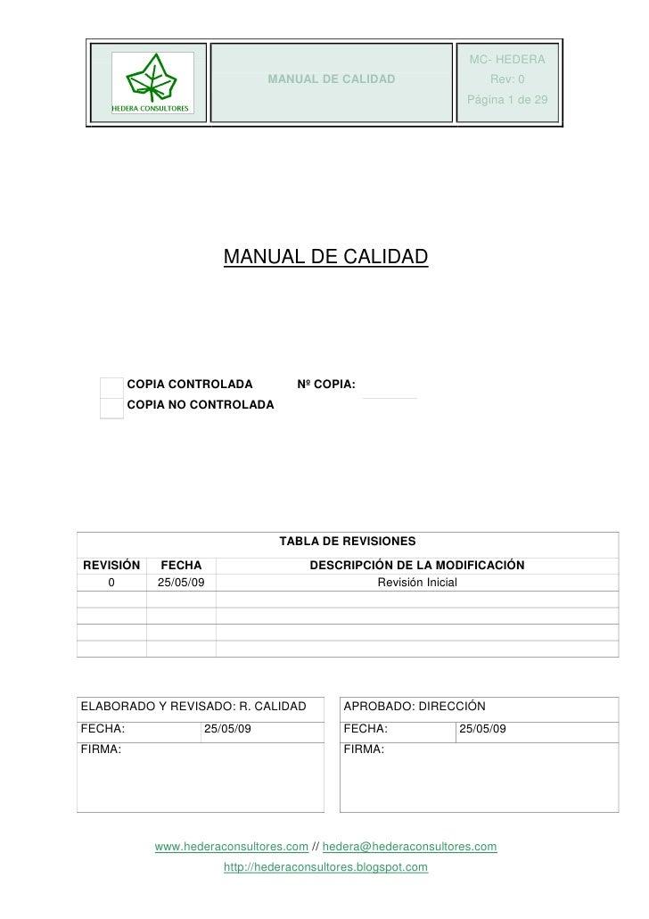 MC- HEDERA                               MANUAL DE CALIDAD                    Rev: 0                                      ...