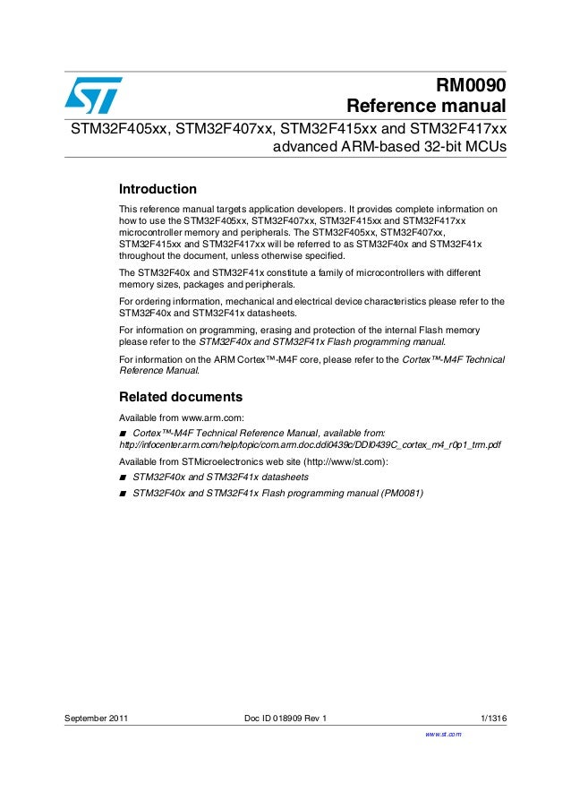 RM0090 Reference manual STM32F405xx, STM32F407xx, STM32F415xx and STM32F417xx advanced ARM-based 32-bit MCUs Introduction ...