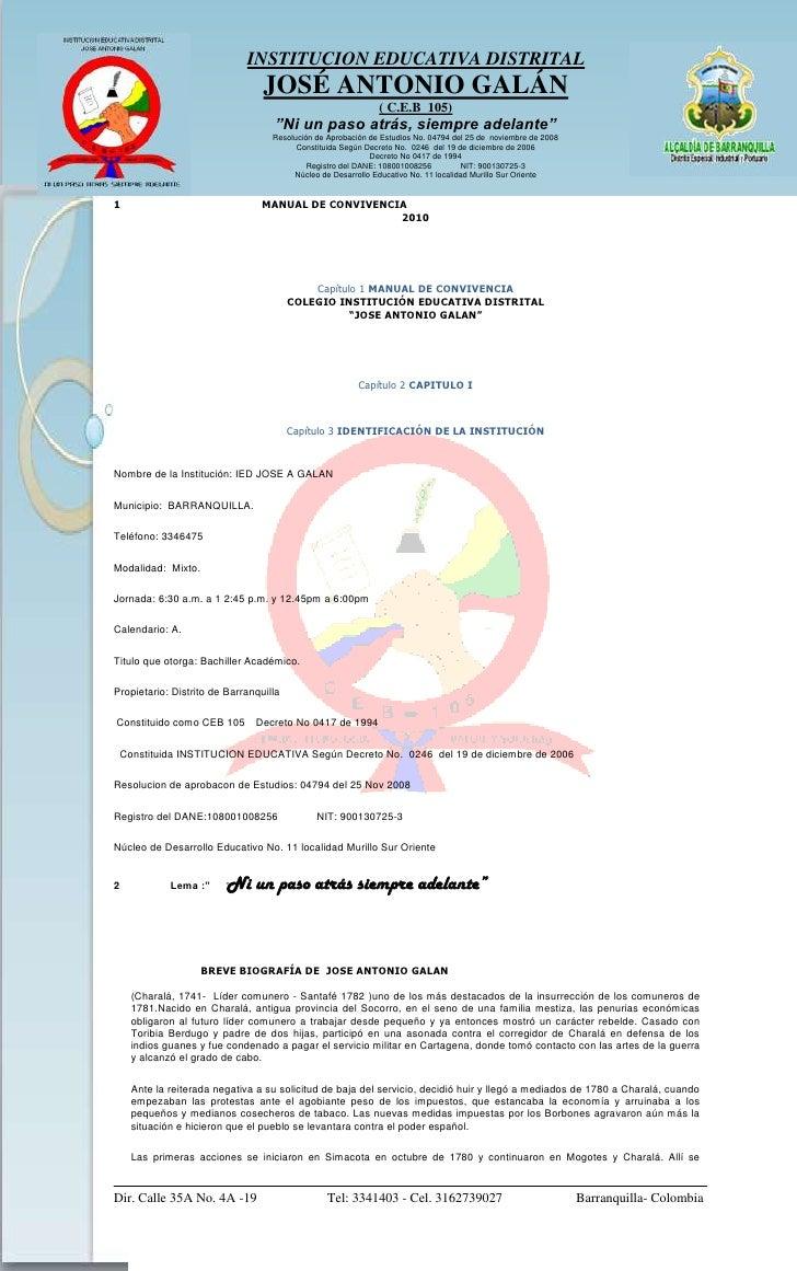 1                                             MANUAL DE CONVIVENCIA<br />2010<br />MANUAL DE CONVIVENCIA<br />COLEGIO INST...