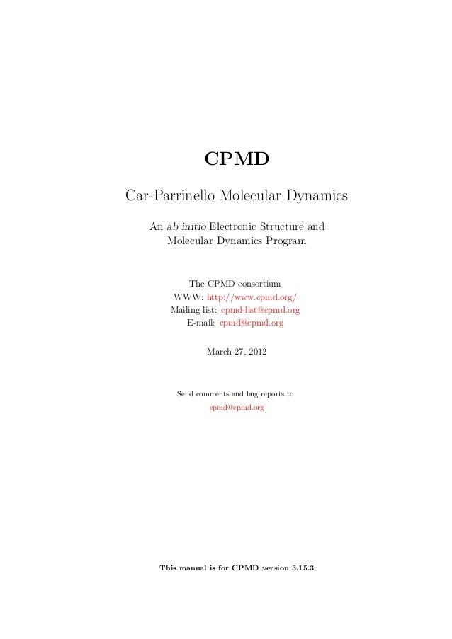 Manual cpmd