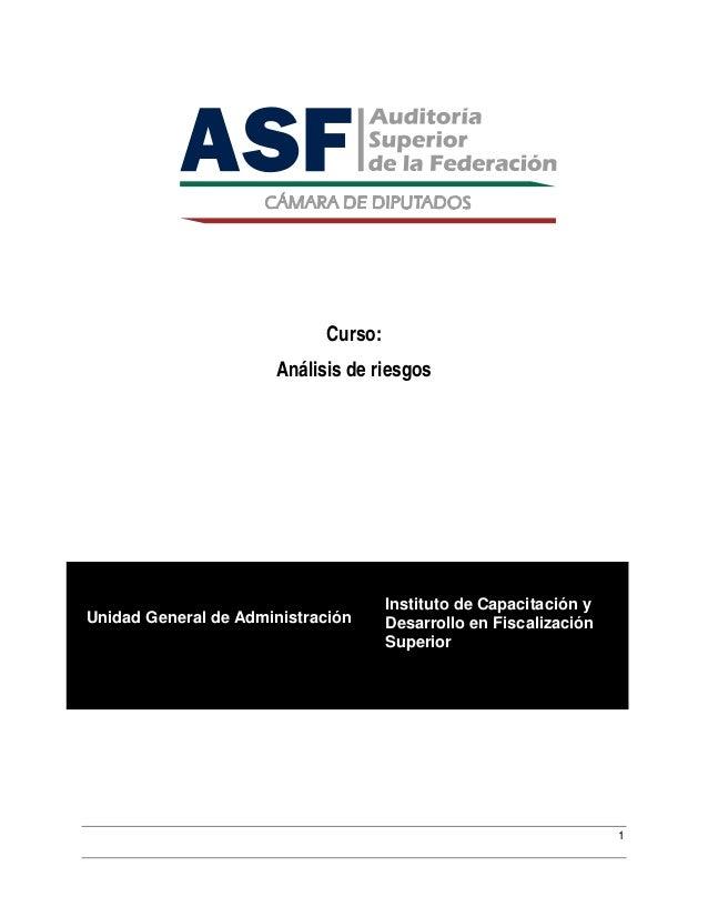 Curso:                      Análisis de riesgos                                     Instituto de Capacitación yUnidad Gene...
