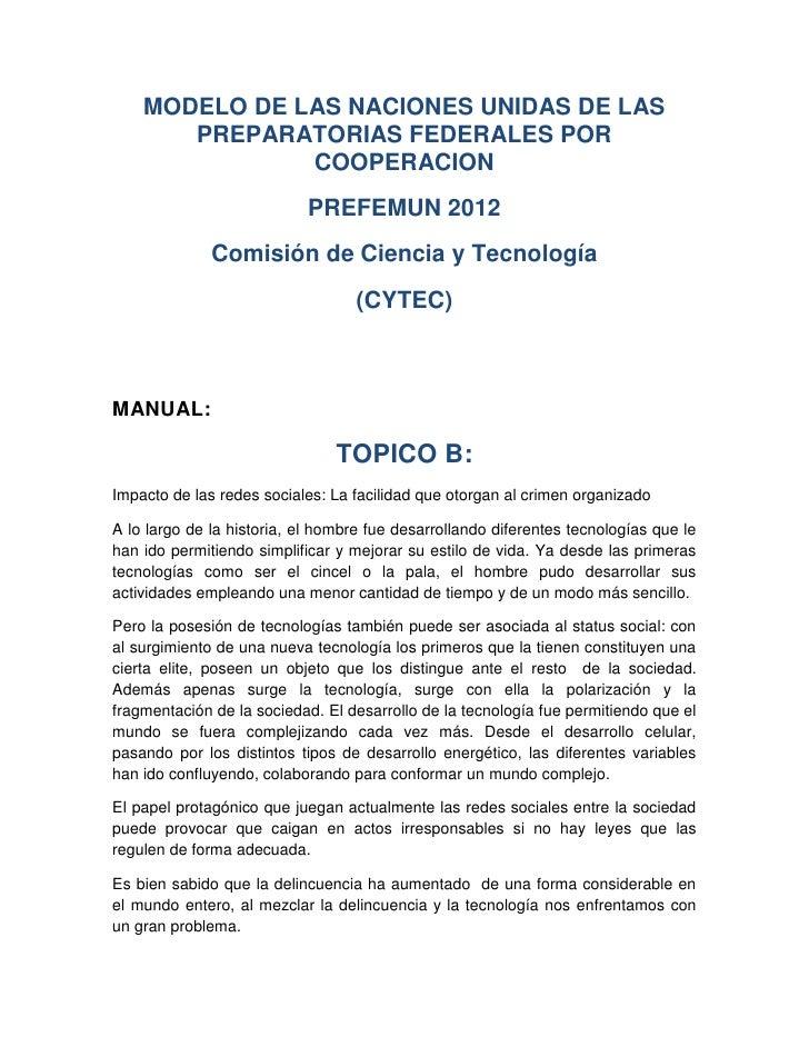 MODELO DE LAS NACIONES UNIDAS DE LAS       PREPARATORIAS FEDERALES POR               COOPERACION                          ...