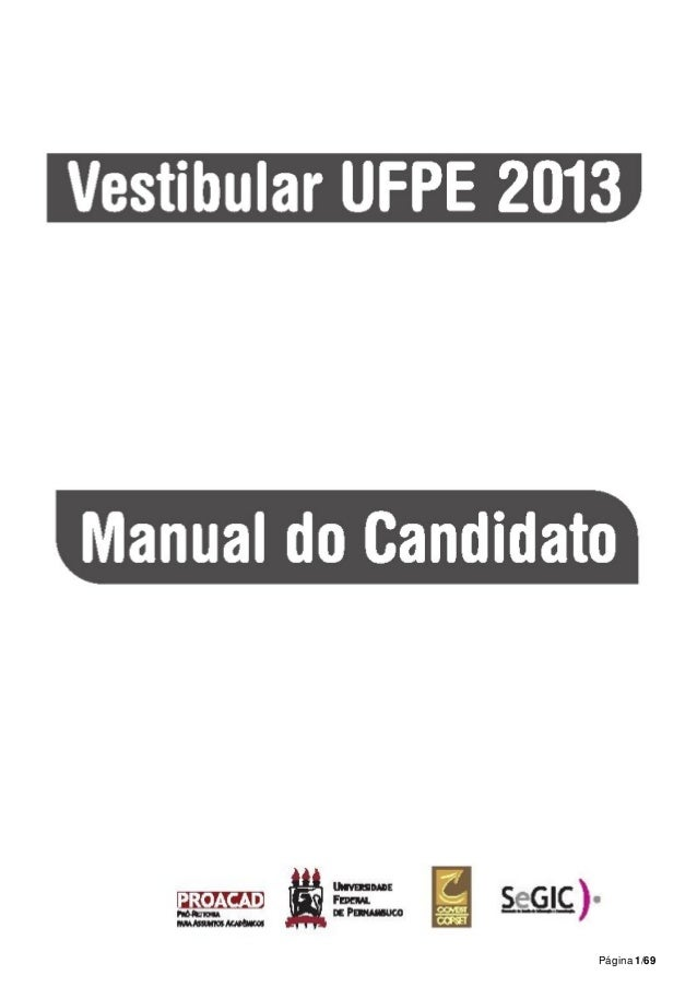 Manual da covest vestibular ufpe 2013