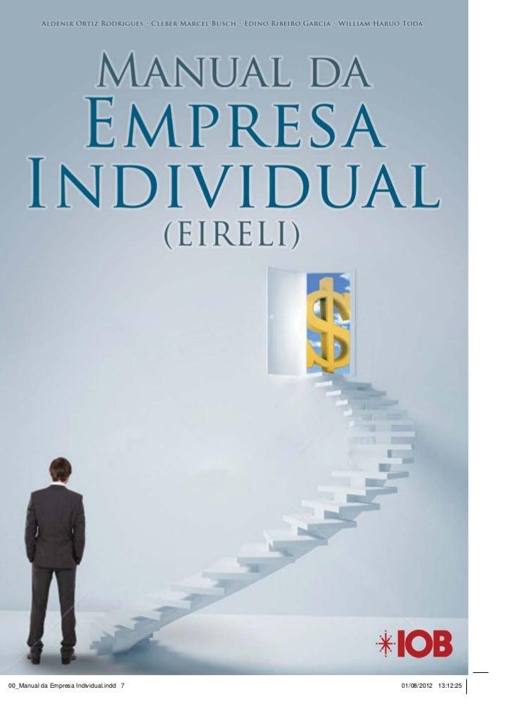 Manual da empresa individual de responsabilidade limitada (eireli) - IOB e-Store
