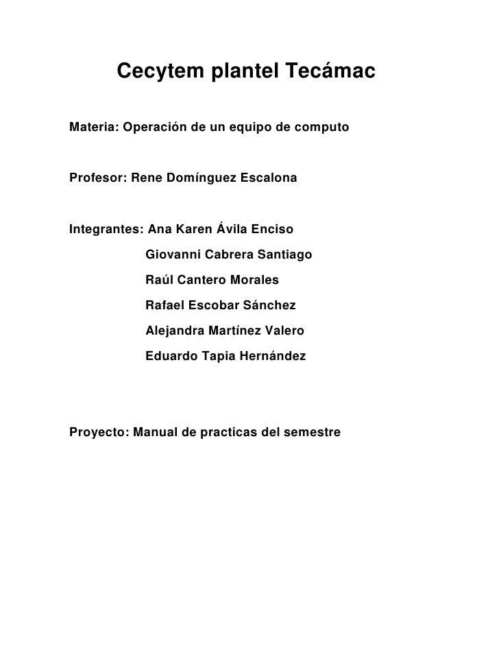 Manual de actividades del semestre