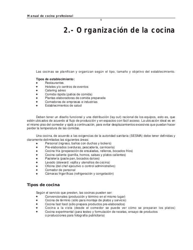 Manual de cocina profesional for Manual de procedimientos de un restaurante