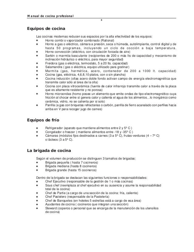 Manual de cocina profesional for Manual de cocinas integrales