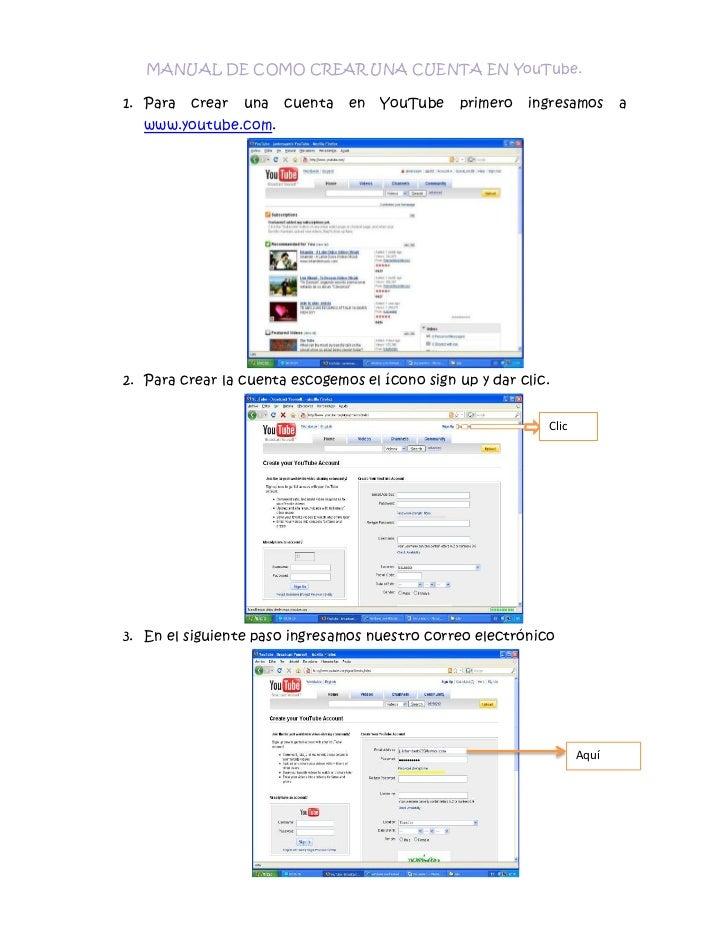 Manual de como crear una cuenta en you tube