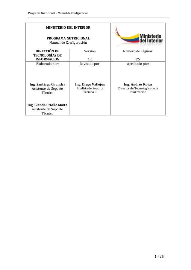 Programa Nutricional – Manual de Configuración  1 - 25  MINISTERIO DEL INTERIOR  PROGRAMA NUTRICIONAL  Manual de Configura...