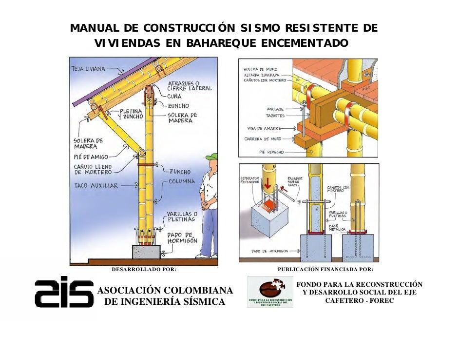 MANUAL DE CONSTRUCCIÓN SISMO RESISTENTE DE   VIVIENDAS EN BAHAREQUE ENCEMENTADO     DESARROLLADO POR:      PUBLICACIÓN FIN...
