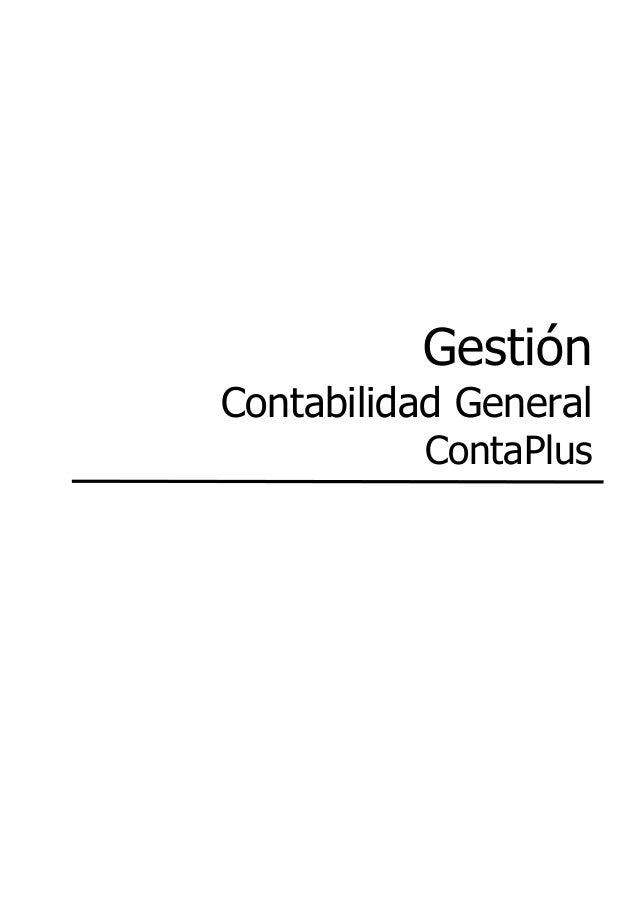 Gestión Contabilidad General ContaPlus