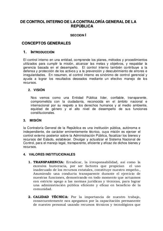 DDEE CCOONNTTRROOLL IINNTTEERRNNOO DDEE LLAA CCOONNTTRRAALLOORRÍÍAA GGEENNEERRAALL DDEE LLAA RREEPPÚÚBBLLIICCAA SSEECCCCII...