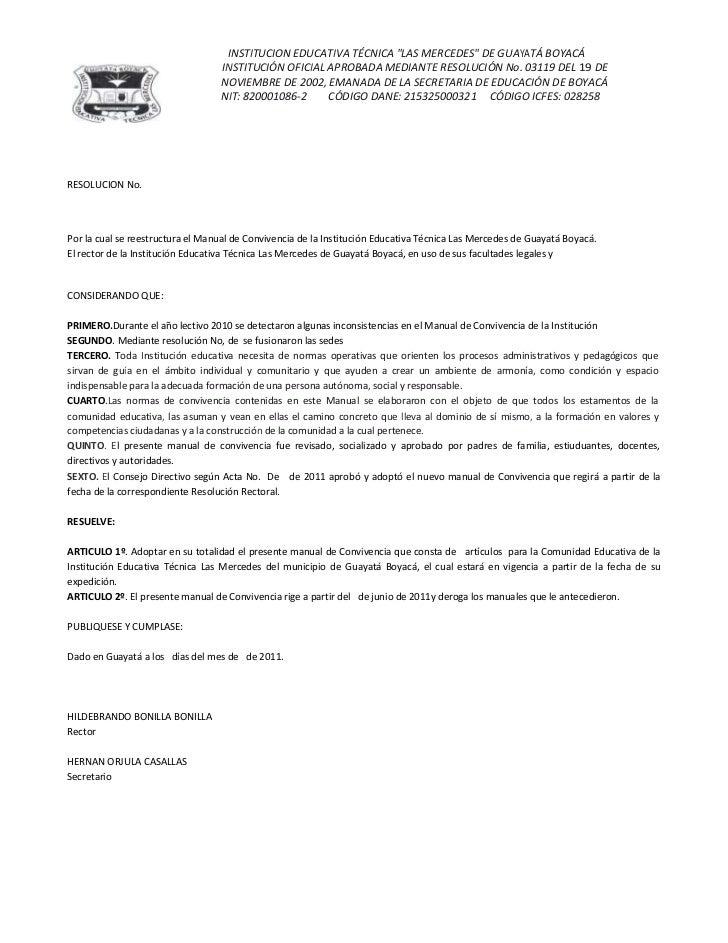 RESOLUCION No. <br />Por la cual se reestructura el Manual de Convivencia de la Institución Educativa Técnica Las Mercedes...