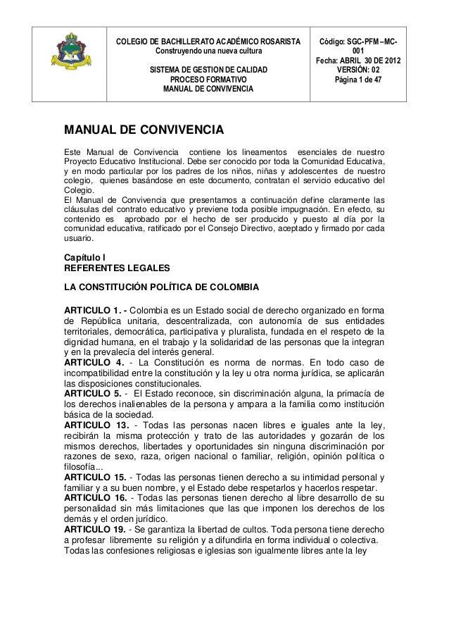 COLEGIO DE BACHILLERATO ACADÉMICO ROSARISTA Construyendo una nueva cultura SISTEMA DE GESTION DE CALIDAD PROCESO FORMATIVO...