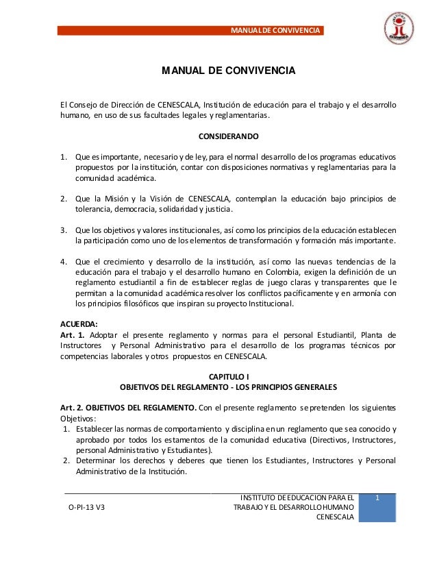 MANUALDE CONVIVENCIA O-PI-13 V3 INSTITUTO DE EDUCACION PARA EL TRABAJOY EL DESARROLLOHUMANO CENESCALA 1 MANUAL DE CONVIVEN...