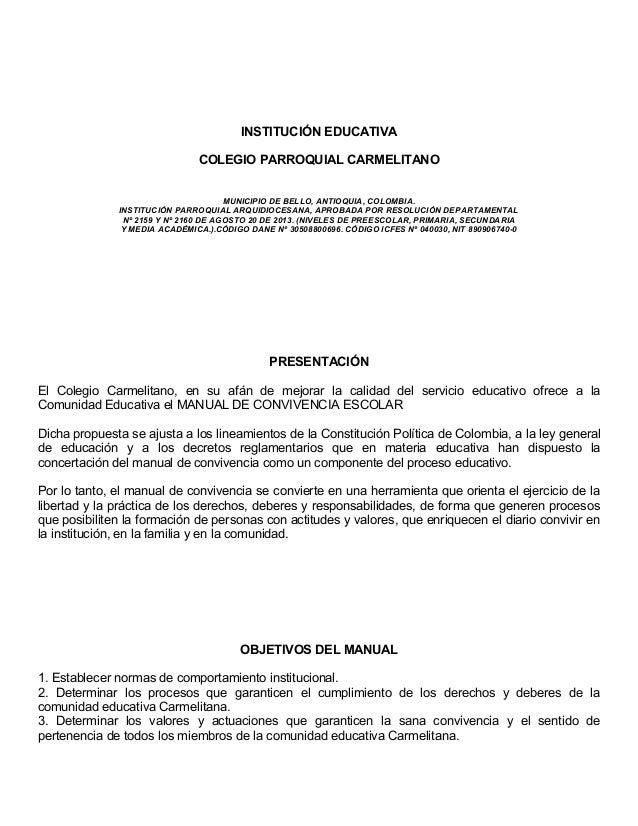 INSTITUCIÓN EDUCATIVA COLEGIO PARROQUIAL CARMELITANO MUNICIPIO DE BELLO, ANTIOQUIA, COLOMBIA. INSTITUCIÓN PARROQUIAL ARQUI...