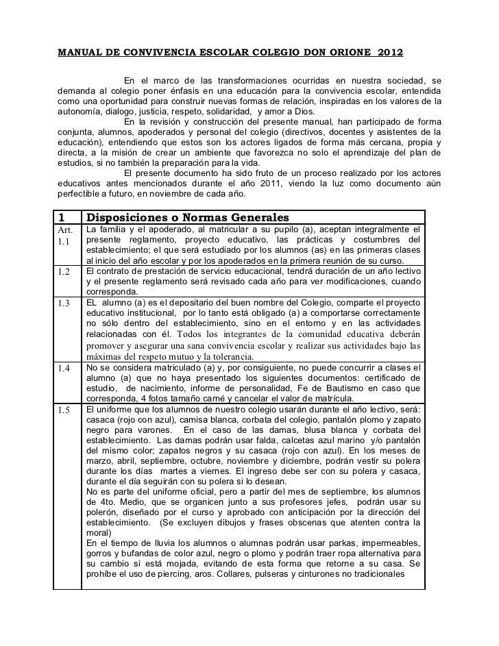 MANUAL DE CONVIVENCIA ESCOLAR COLEGIO DON ORIONE 2012                  En el marco de las transformaciones ocurridas en nu...
