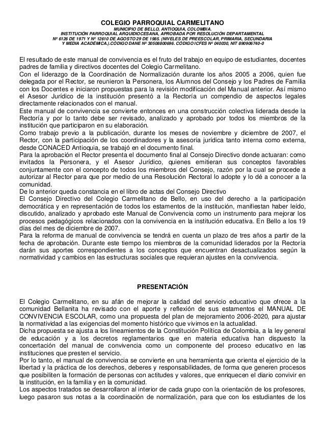 COLEGIO PARROQUIAL CARMELITANO                                       MUNICIPIO DE BELLO, ANTIOQUIA, COLOMBIA.             ...