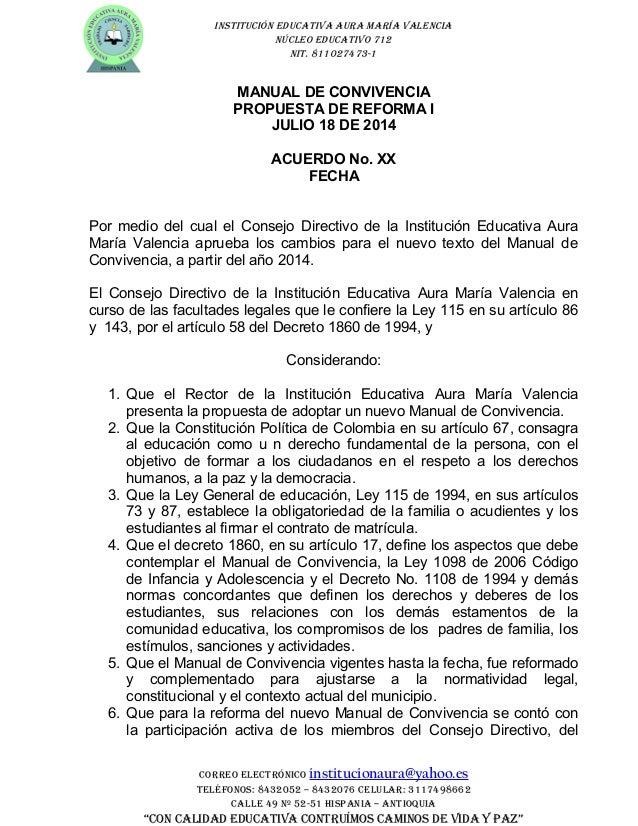 INSTITUCIÓN EDUCATIVA AURA MARÍA VALENCIA NÚCLEO EDUCATIVO 712 NIT. 811027473-1 MANUAL DE CONVIVENCIA PROPUESTA DE REFORMA...