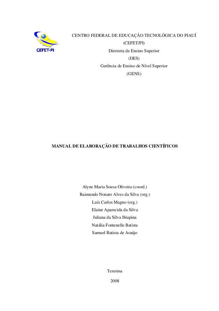 Manual de elaboração de trabalhos científicos cefet pi