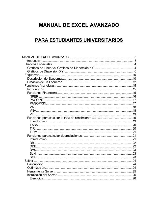 MANUAL DE EXCEL AVANZADO  PARA ESTUDIANTES UNIVERSITARIOS  MANUAL DE EXCEL AVANZADO..........................................