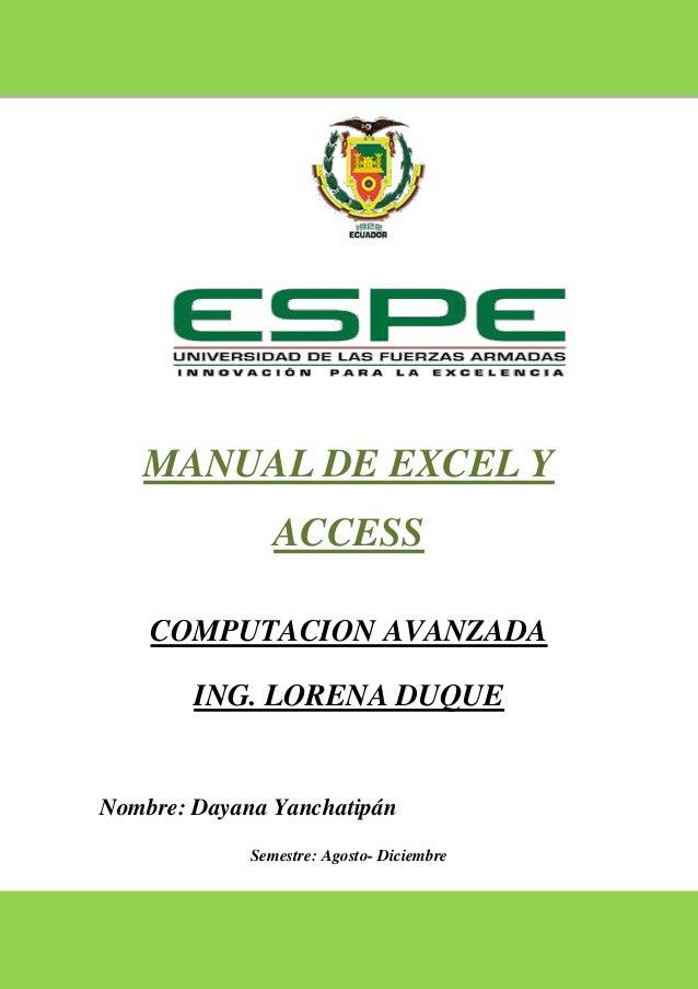 Manual de excel y access,  con ejemplos prácticos para su entedimiento