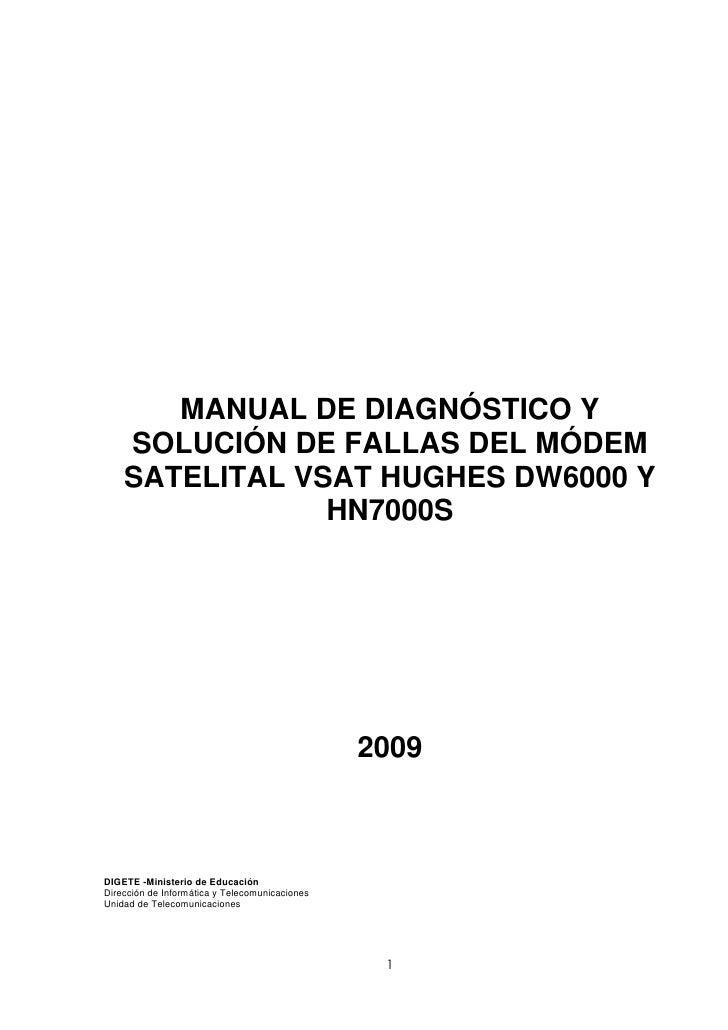 MANUAL DE DIAGNÓSTICO Y     SOLUCIÓN DE FALLAS DEL MÓDEM     SATELITAL VSAT HUGHES DW6000 Y                 HN7000S       ...