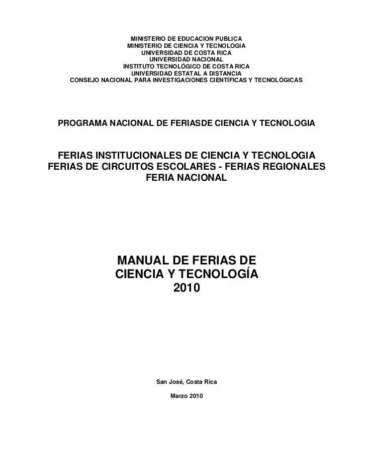 MINISTERIO DE EDUCACION PUBLICA                   MINISTERIO DE CIENCIA Y TECNOLOGIA                       UNIVERSIDAD DE ...