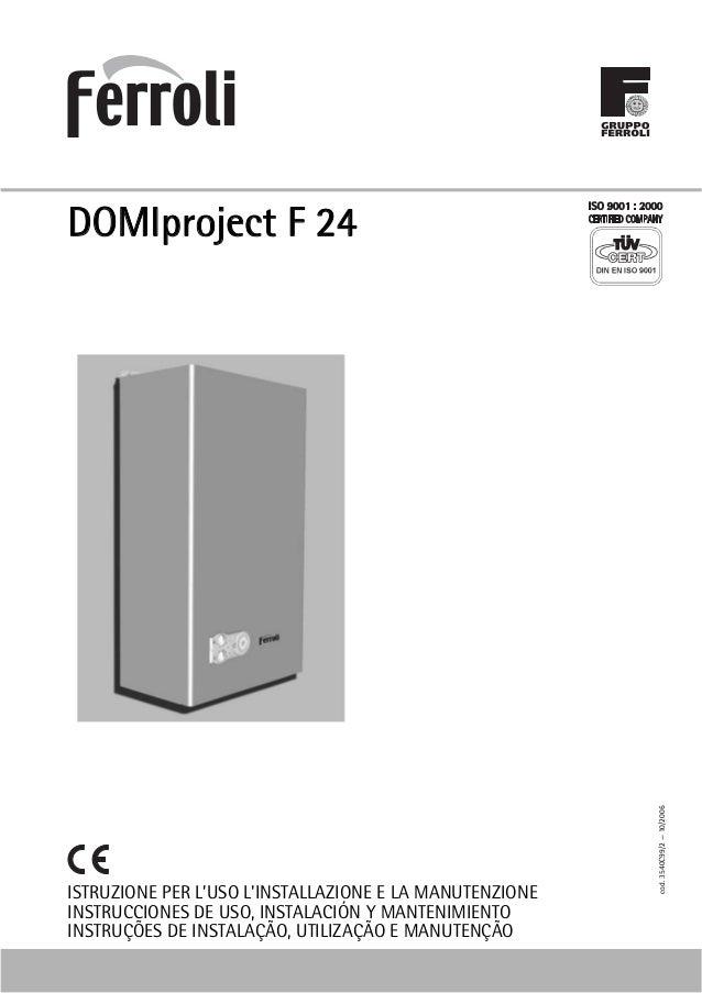 Manual ferroli domiproject f24 for Ferroli domicondens f24