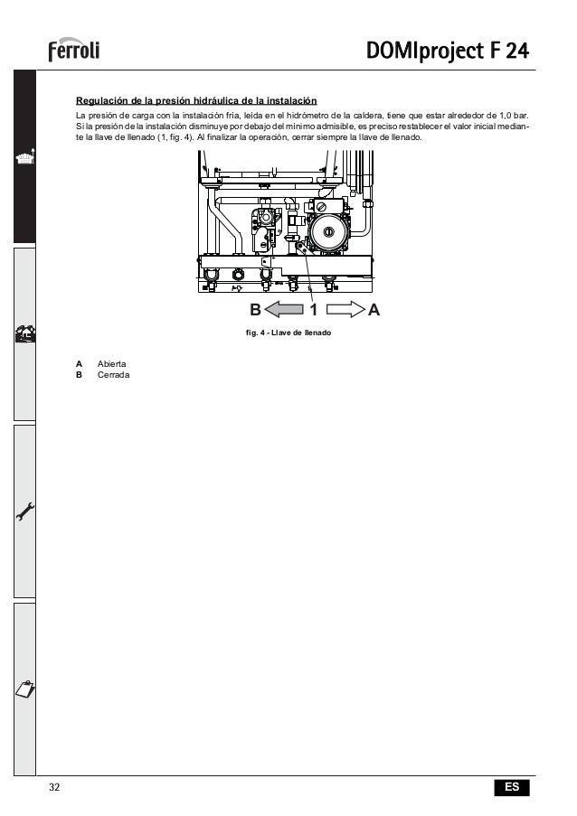 Manual instrucciones caldera ferroli domiproject f24 for Ferroli f24d