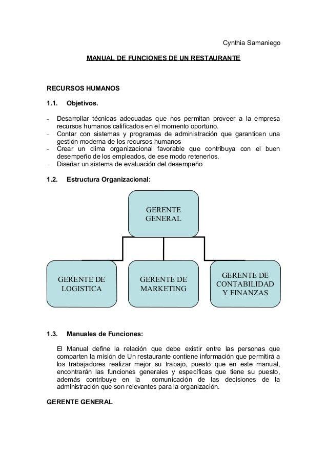 Manual de funciones for Manual de restaurante pdf