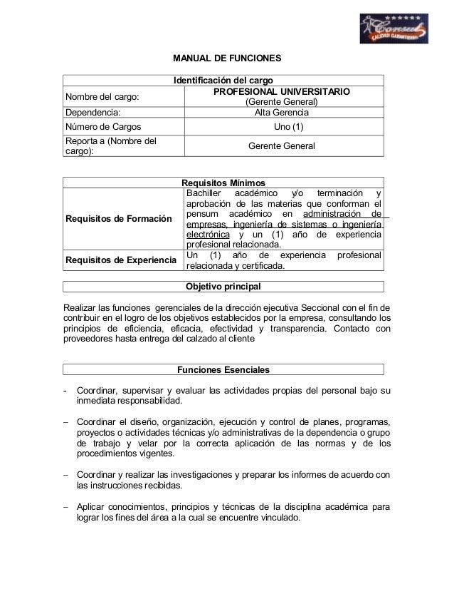 MANUAL DE FUNCIONES  Identificación del cargo  Nombre del cargo: PROFESIONAL UNIVERSITARIO  (Gerente General)  Dependencia...