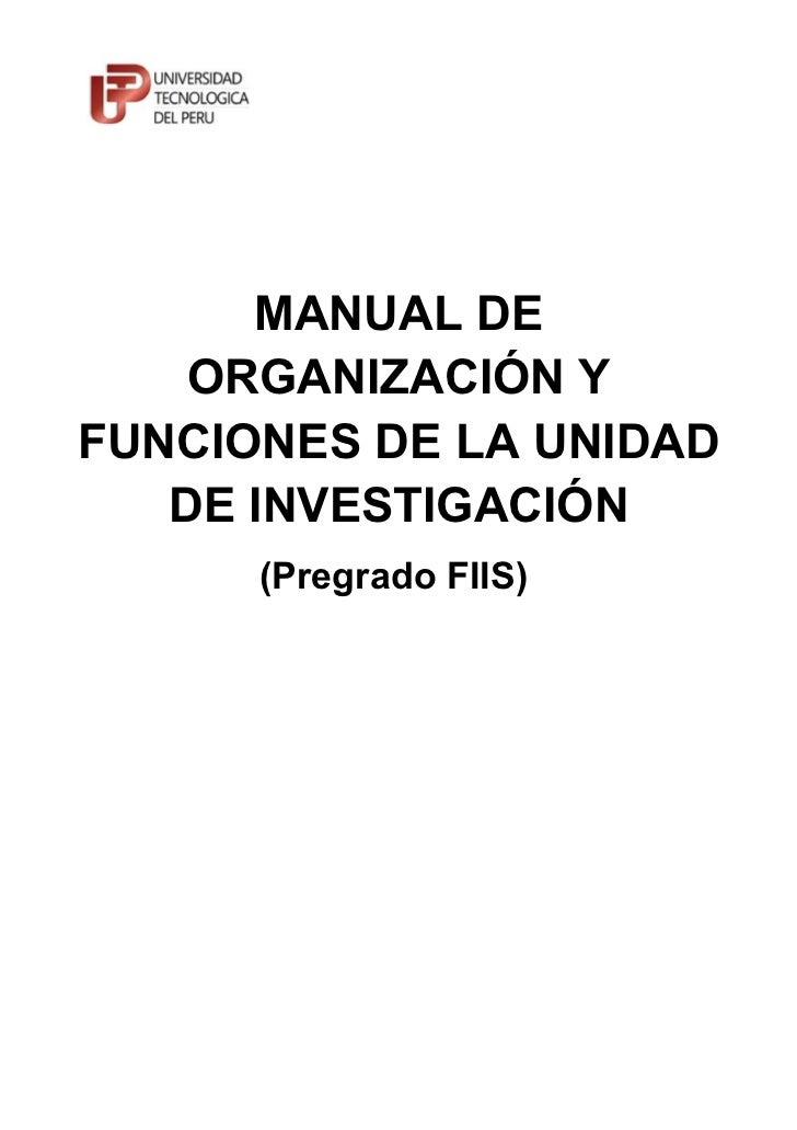Manual de Funciones y Procesos de la Unidad de Investigación de la FIIS UTP