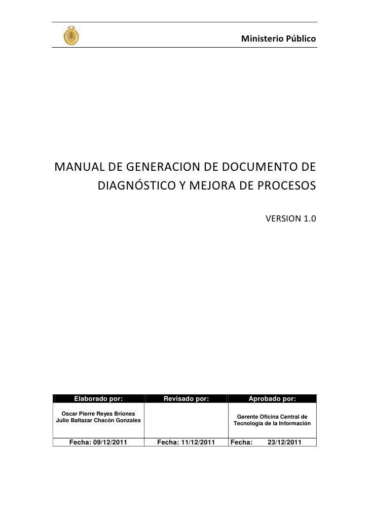 Manual de generacion de documento de diagnóstico y mejora de procesos