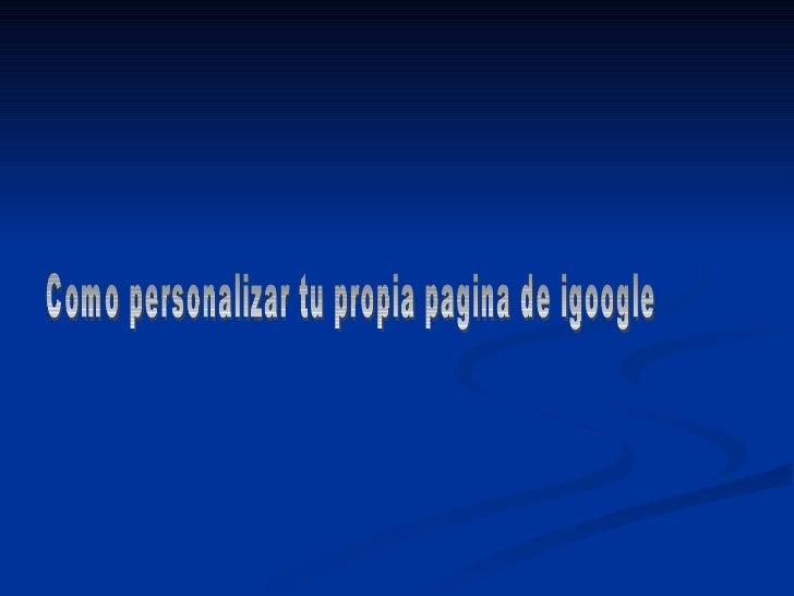 Manual De Igoogle