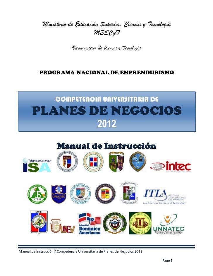 Ministerio de Educación Superior, Ciencia y Tecnología                                   MESCyT                           ...