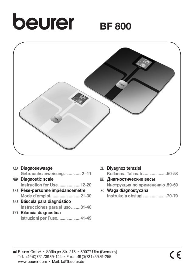 D Diagnosewaage  Gebrauchsanweisung................2 – 11  G Diagnostic scale  Instruction for Use....................12-2...