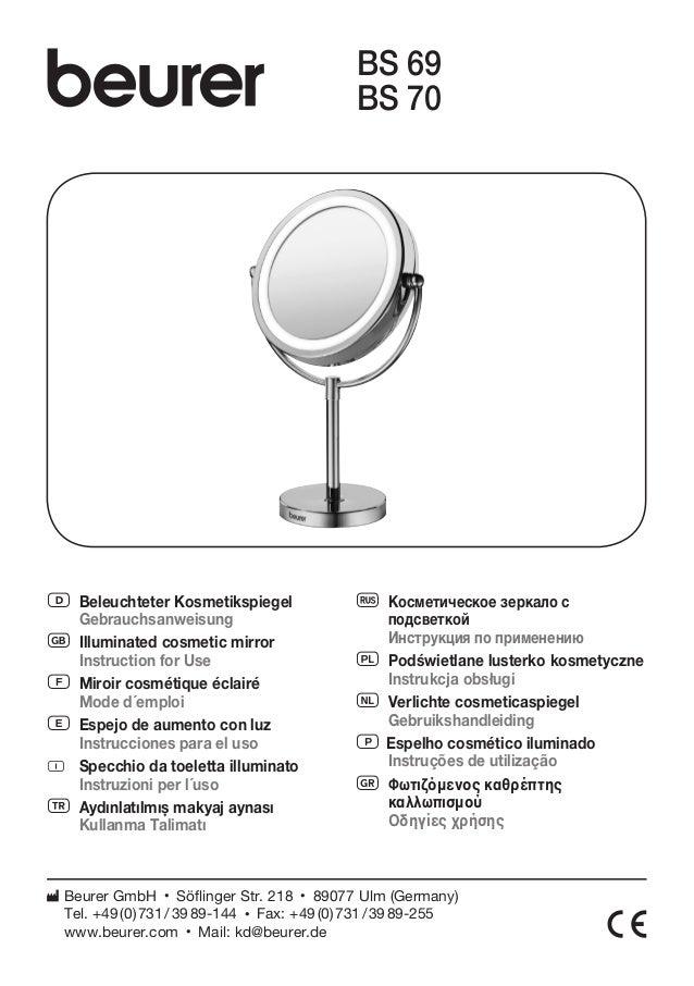 D Beleuchteter Kosmetikspiegel  Gebrauchsanweisung  G Illuminated cosmetic mirror  Instruction for Use  F Miroir cosmétiqu...