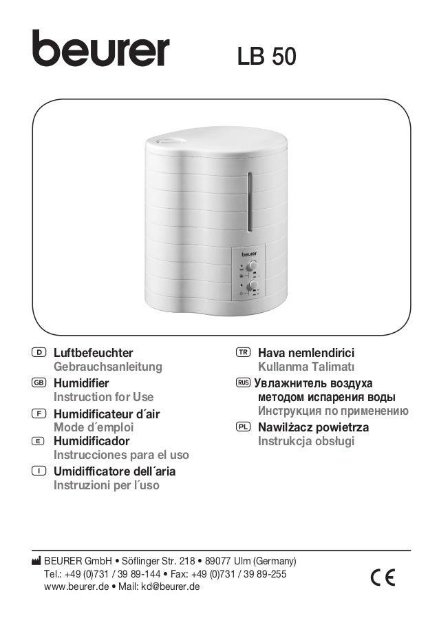 LB 50  D Luftbefeuchter  Gebrauchsanleitung  G Humidifier  Instruction for Use  F Humidificateur d´air  Mode d´emploi  E H...